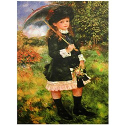 Handmade Renoir 'Young Girl with Parasol' Canvas Wall Art (China)