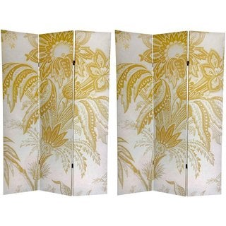 Handmade Canvas Double-sided 6-foot Neutral Floral Room Divider (China)
