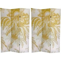 Handmade Canvas Double-sided 6-foot Neutral Floral Room Divider (China) - 71 x 47