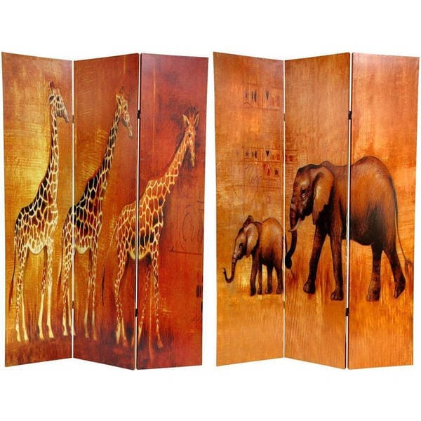 Handmade 6' Canvas Giraffe and Elephant Room Divider