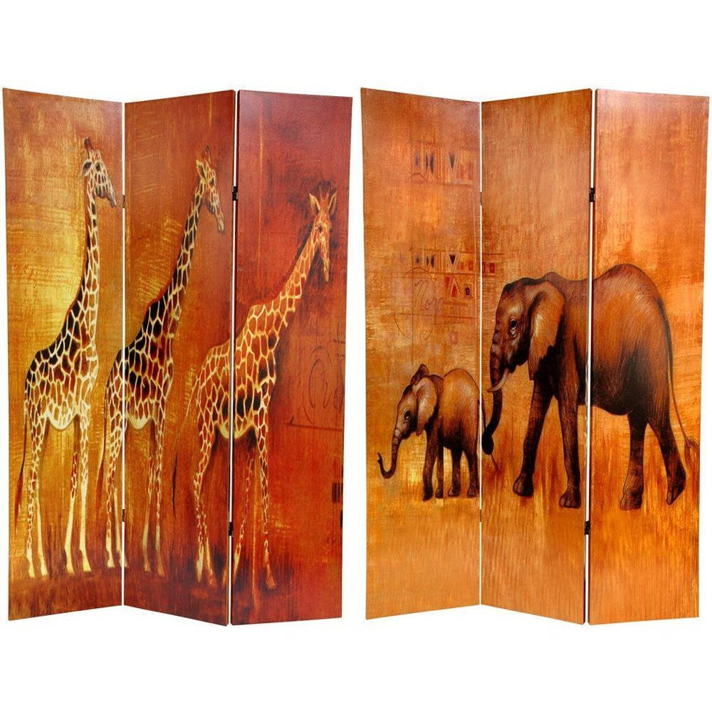 Oriental FURNITURE Handmade Canvas Giraffe/ Elephant Doub...