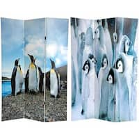 Handmade Canvas Penguins Double-sided 6-foot Room Divider (China)