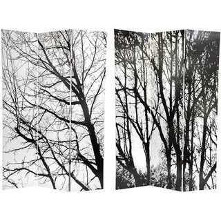 Handmade Canvas Winter Trees Double-sided 6-foot Room Divider (China)