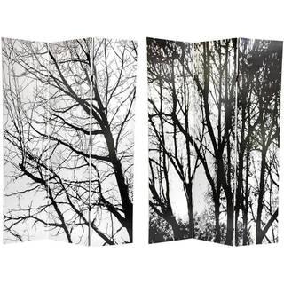 Handmade 6' Canvas Winter Trees Room Divider