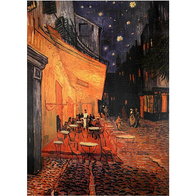 Handmade Van Gogh 'Cafe Terrace on the Place du Forum' Canvas Wall Art (China)