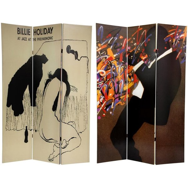Canvas Double-sided 6-foot Billie Holiday Room Divider (China)