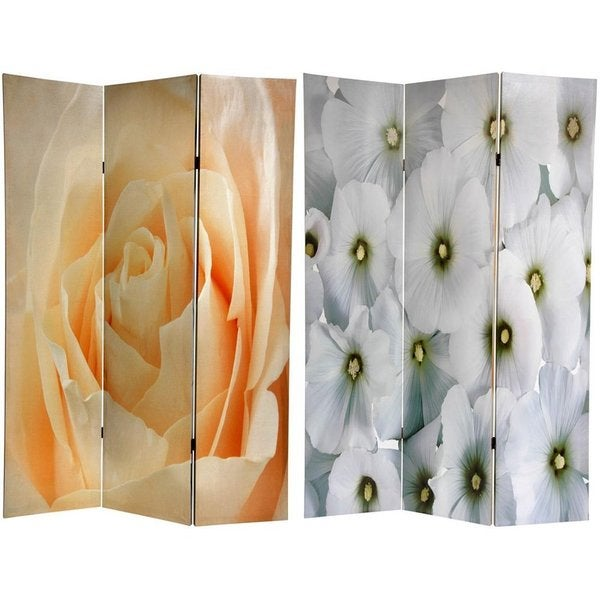Handmade Canvas Peach Rose/ White Floral Double-sided 6-ft Room Divider (China)