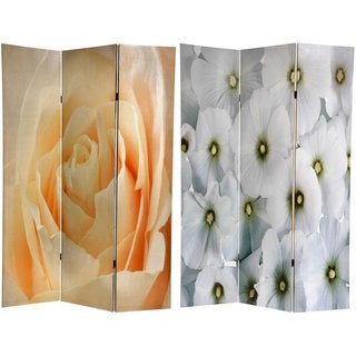 Canvas Peach Rose/ White Floral Double-sided 6-ft Room Divider (China)