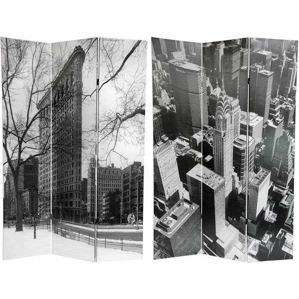 Handmade Canvas New York City Double-sided 6-foot Room Divider (China)