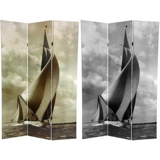 Handmade Canvas Sailboat Double-sided 6-foot Room Divider (China)
