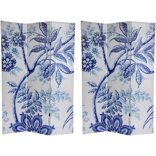 Canvas Double-sided 6-foot Blue Floral Room Divider (China)