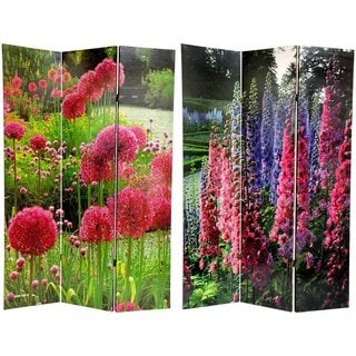 Handmade Canvas Pompom/ Snapdragon Double-sided 6-foot Room Divider (China)