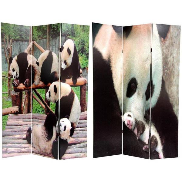 Handmade Canvas Panda Bears Double-sided 6-foot Room Divider (China)