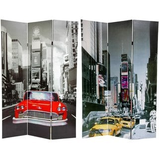 Handmade Canvas New York City Taxi Double-sided 6-foot Room Divider (China)