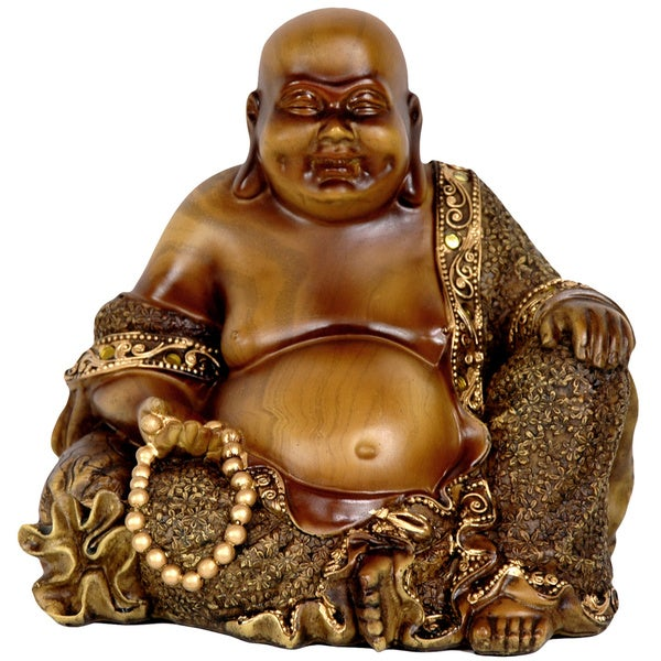 Handmade Sitting 6-inch Laughing Buddha Statue (China)