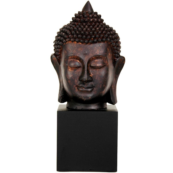 Hand-crafted 10-inch Black Resin Thai Buddha Head Statue (China)