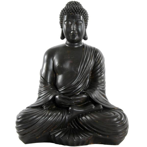 Handmade Large 17-inch Japanese Sitting Buddha Statue (China)