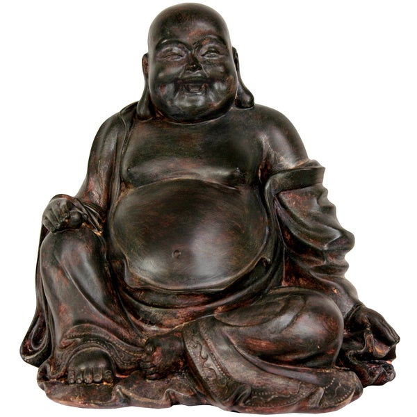 Handmade Sitting 11.5-inch Lucky Buddha Statue (China)