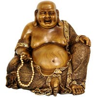 Handmade Sitting Hotei 10.5-inch Happy Buddha Statue (China)