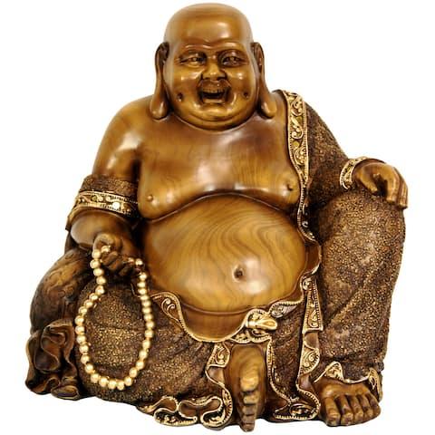 """Handmade 10.5"""" Sitting Hotei Happy Buddha Statue"""