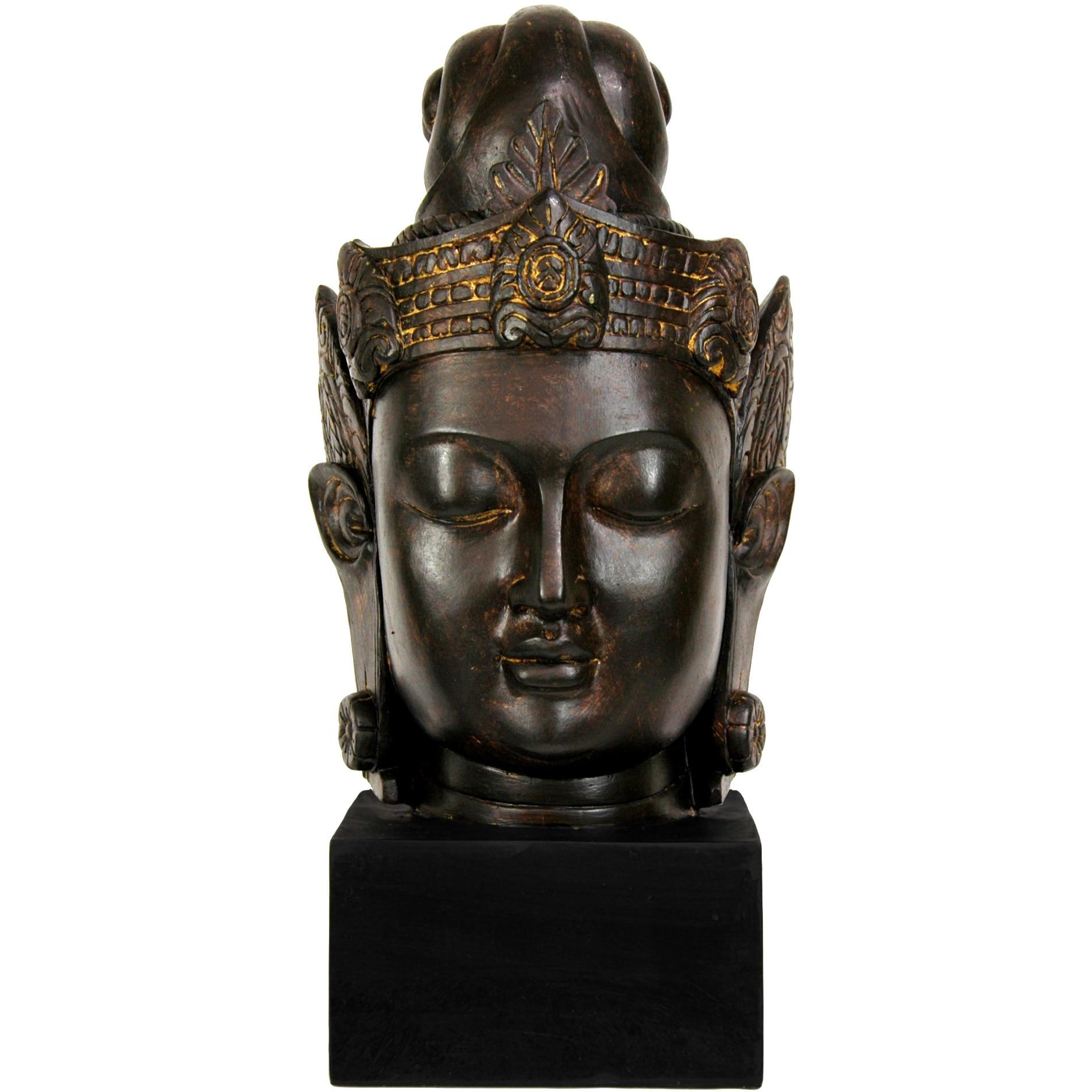 Handmade Large 16-inch Cambodian Buddha Head Statue (Chin...