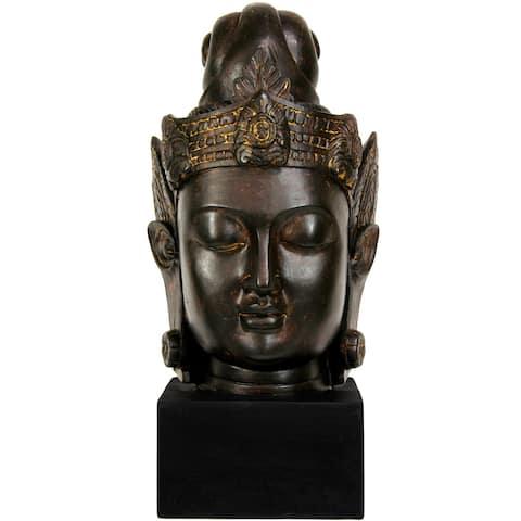"""Handmade 16"""" Cambodian Buddha Head Statue"""