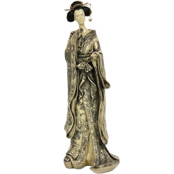 Handmade Small Bow Kimono 17-inch Geisha Figurine (China)