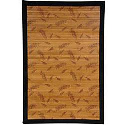 Handmade Asian 'Little Leaf' Rayon from Bamboo Rug (5' x 8') - Thumbnail 1