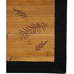 Handmade Asian 'Little Leaf' Rayon from Bamboo Rug (5' x 8') - Thumbnail 2