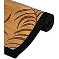 Handmade Asian 'Tropical Leaf' Rayon from Bamboo Rug (5' x 8')