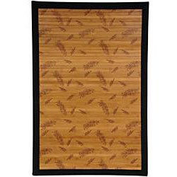 Handmade Asian 'Little Leaf' Rayon from Bamboo Rug (4' x 6') - Thumbnail 1