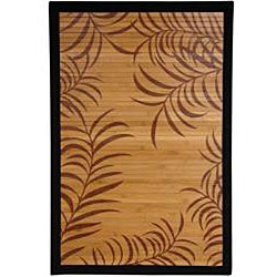 Handmade Asian 'Tropical Leaf' Rayon from Bamboo Rug (4' x 6') - Thumbnail 1
