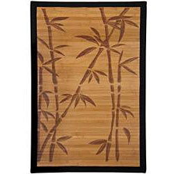 Handmade Asian 'Bamboo Tree' Rayon from Bamboo Rug (4' x 6') - Thumbnail 1