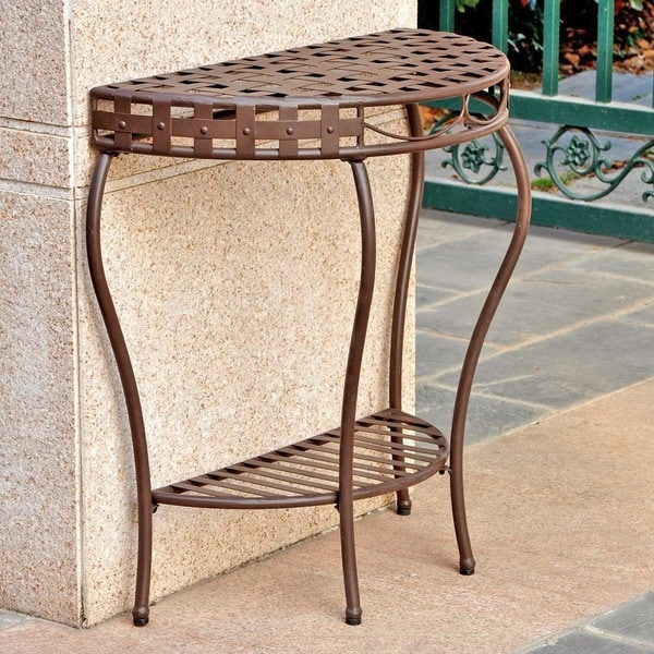 Half Moon Table international caravan santa fe nailhead 2-tier half moon table