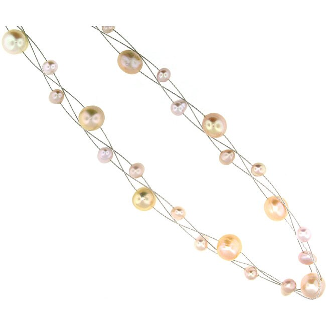 Set of 3 Sterling Silver Pink Freshwater Pearl Necklaces (4-7 mm)(USA)