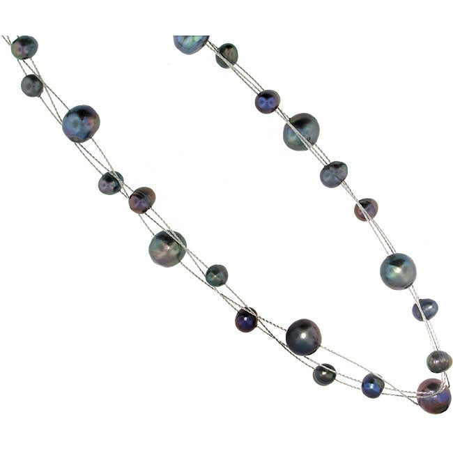 Set of 3 Sterling Silver Grey Freshwater Pearl Necklaces (4-7 mm)(USA)