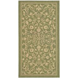 Safavieh Resorts Scrollwork Olive Green/ Natural Indoor/ Outdoor Rug (2'7 x 5')