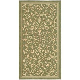 Safavieh Resorts Scrollwork Olive Green/ Natural Indoor/ Outdoor Rug (2'7 x 5')