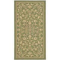 Safavieh Resorts Scrollwork Olive Green/ Natural Indoor/ Outdoor Rug - 2'7 x 5'