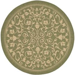 Safavieh Indoor/ Outdoor Resorts Olive/ Natural Rug (6'7 Round)