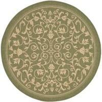 Safavieh Resorts Scrollwork Olive Green/ Natural Indoor/ Outdoor Rug (6'7 Round) - 6'7 Round