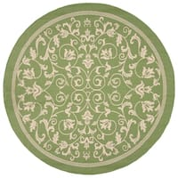 "Safavieh Resorts Scrollwork Olive Green/ Natural Indoor/ Outdoor Rug - 6'7"" x 6'7"" round"