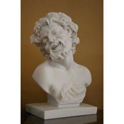 10-inch White Bonded-marble Museum-replica Bacchus Head Statue