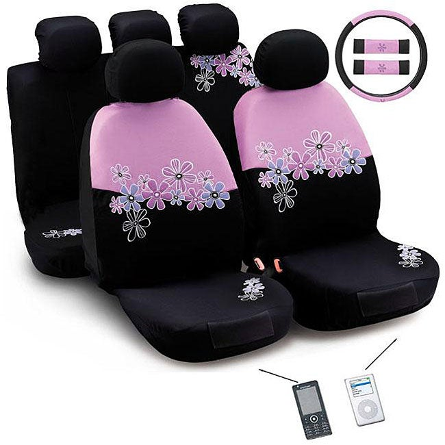 daisy flowers pink and black 12 piece automotive seat cover set free shipping today. Black Bedroom Furniture Sets. Home Design Ideas