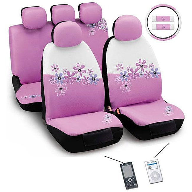 Daisy Flowers Pink And White 12 Piece Automotive Seat