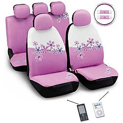 Daisy Flowers Pink and White 12-piece Automotive Seat Cover Set