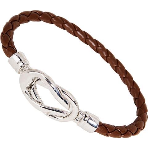 Nexte Brown Leather Silvertone Knot-lock Bracelet