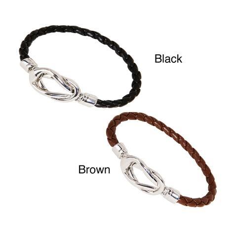 Nexte Black or Brown Silvertone Knot-lock Leather Bracelet