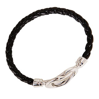 Nexte Black or Brown Silvertone Knot-lock Leather Bracelet