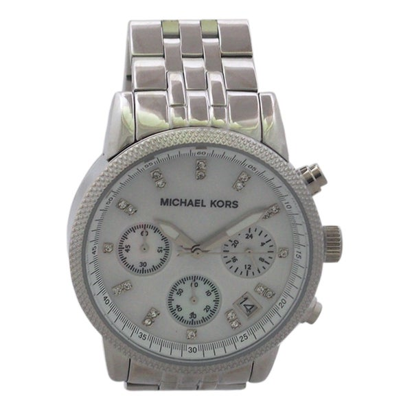 Michael Kors Women's MK5020 Mother of Pearl Chronograph Stainless Steel Watch